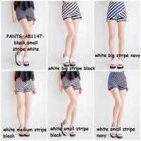 Baju Celana Rok Skort Skirt Pant Kulot Garis Salur Stripe Korea Import