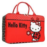 Tas Travel Anak Motif Hello Kitty Flower Bahan Kanvas - Merah