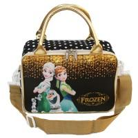Travel Bag Mini Fozen Fever Bahan Kanvas ada Tali Selempang Gold Black