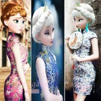 baju anak perempuan dress CNY cina anak cheongsam elsa pink biru