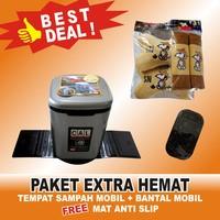 Paket EXTRA Hemat Tempat Sampah Mobil+Bantal Mobil FREE Mat Anti Slip