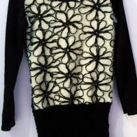 baju bunga bulu rajut hitam