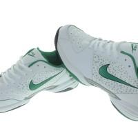 Sepatu Nike Rocks Putih Hijau Olahraga Tennis Badminton Bulutangkis