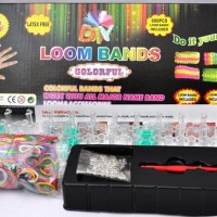 DIY Rainbow Loom Band Loomband Colorful Gelang Karet Kotak Box Hitam