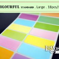 Colourful LARGE standard. Sticker Label nama waterproof warna warni