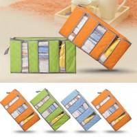 Bamboo Storage Box Clothing organizer 3 sekat box penyimpanan Warna
