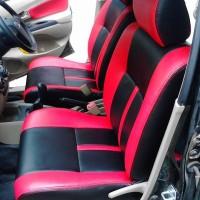 sarung jok mobil Avanza - Xenia semi kulit freelander merah hitam