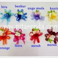 FOR-15 : Bunga Organdi Pita untuk bahan Bross (per lusin)