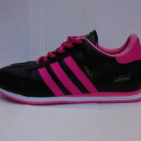 sepatu adidas italy hitam list pink+Box