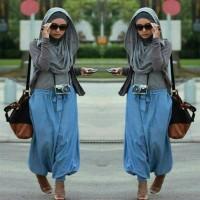 set celana kulot+ pashmina+ atasan