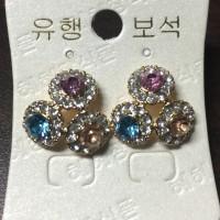 Anting import tiga kristal bulat