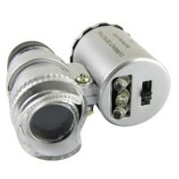 Mini zoom 60X LED Light Microscope + UV ultraviolet mikroskop akik