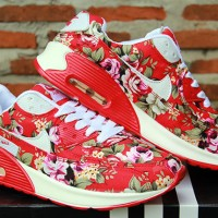 Nike Airmax Flower Women Merah(sepatu wanita,running,kets,olahraga)