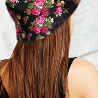 Bucket hat motif bunga / topi baket floral / topi bulat hitam bunga