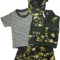 Baju Setelan Bayi Tentara Rompi Pisah+Topi - Cool Army