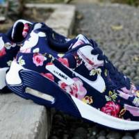 Sepatu Nike Airmax90 Flower Biru Tua Putih
