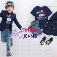 Baju Blazer + Kaos + Celana Jeans 3in1 (Mini Jeans)