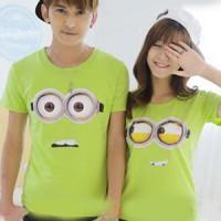 Kaos Couple / Baju Pasangan / Kembar Kopel Soulmate Minion eye 9749