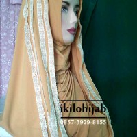 Jilbab instan hana jersey renda /  segiempat pasmina murah