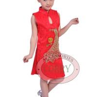Baju Dress Cheongsam Anak Perempuan Cina Merah Burung Merak