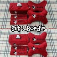 Bantal Mobil 3 in 1 Bordir DISNEY MICKEY / MINNIE Red