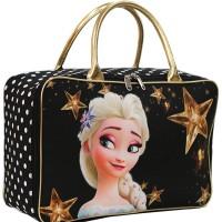 Travel Bag Karakter Disney Frozen Bahan Kanvas - Hitam Gold