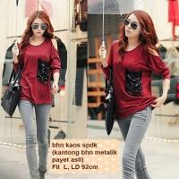 [Top Red Metalik FT] baju wanita merah spandek kaos