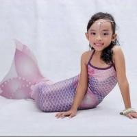 baju renang mermaid putri duyung anak size l (8-10th) pink purp pearl