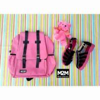 paket 2in1 tas sepatu docmart pink m2m murah