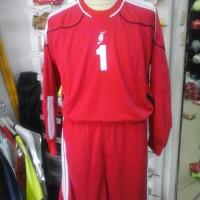 Stelan kostum kiper maestro baju celana keeper merah lengan panjang