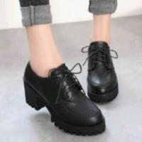 sepatu boots wanita murah wedges hills heels docmart boots hitam murah