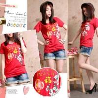 Kaos T-shirt Wanita Dewasa Imlek Cina Chinese New Year 2016 Merah