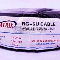 Kabel Matrix RG6 Parabola + Jack Konektor F5 15 Meter 15m 5C Coaxial