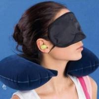 Inflatable Travel Pillow Set Bantal Leher Penutup Mata Telinga Pesawat