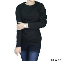 Tshirts Wanita Lengan Panjang Polos Cotton Combed S20 Hitam POLW 42