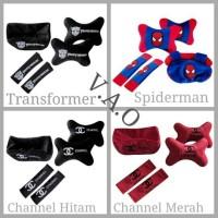 Paket set Bantal Mobil 3 in 1 (Transformer, Channel, Spiderman)