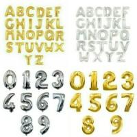 Balon Foil Huruf Angka Gold Emas / Silver 40cm