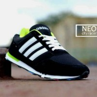 Sepatu ADIDAS Neo City Racer Men Sport Running Pria Hitam Putih Hijau