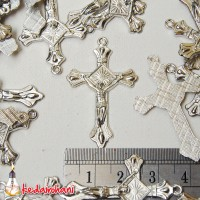 Bandul Salib / Cross Logam Nikel Bahan Souvenir Kalung Rosario Besar