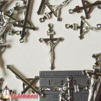 Bandul Salib/ Cross Logam Bahan Souvenir Kalung Rosario - Yesus INRI