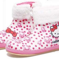 760BDA, sepatu pesta boot anak perempuan/cewek, Hello Kitty Polka Dot