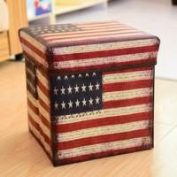 Storage Box Bendera Amerika / Kotak Tempat Penyimpanan Baju Buku Koran