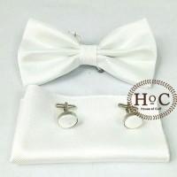 Dasi Bow Tie Pocket Square Cufflinks Manset WHITE BOW TIE SET