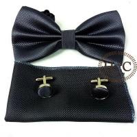 Dasi Bow Tie Pocket Square Cufflinks Manset GREY DARK BOW TIE SET