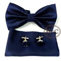 Dasi BowTie Pocket Square Cufflinks Manset BLUE DARK BOW TIE SET