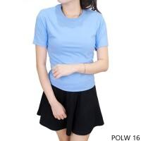 Tshirt Polos Wanita 100% Cotton Pique Biru Muda POLW 16