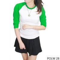 T-shirt Wanita 100% Cotton Pique Putih Hijau POLW 28