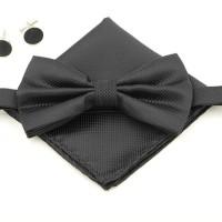 Dasi kupu kupu set pocket square / sapu tangan plus cufflink Import