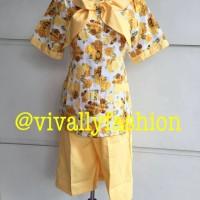 Baju Suster/Nanny Batik warna kuning kerah pita