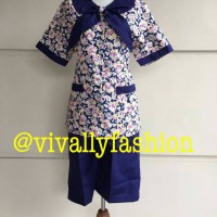 Baju suster/nanny batik warna ungu kerah pita